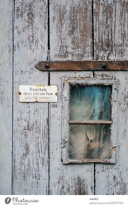 Inferno alt Fenster Holz Metall Tür Schriftzeichen Glas trist Schilder & Markierungen Vergänglichkeit Hinweisschild Vergangenheit Sicherheit Kunststoff Verfall
