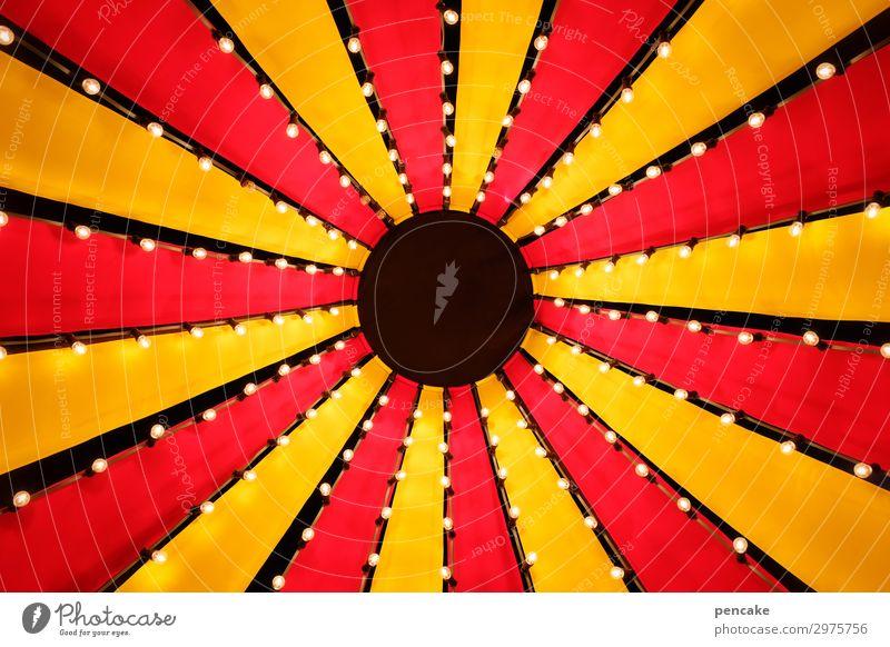zirkushimmel Design Zirkus Kultur Veranstaltung Show Bekanntheit fantastisch Fröhlichkeit lustig oben positiv retro rund gelb rot Zirkuszelt Spitze Dach