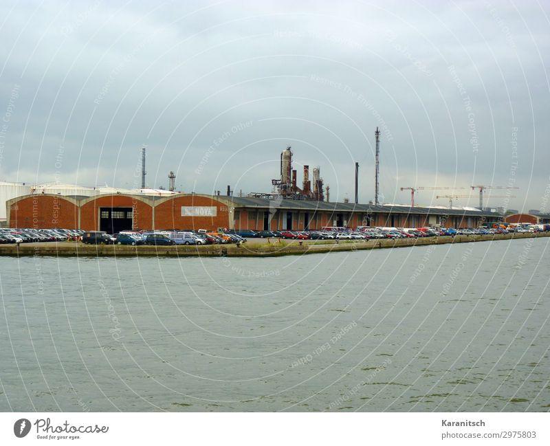 Autoverladestation am Hafen Technik & Technologie Industrie Landschaft Wasser schlechtes Wetter Antwerpen Belgien Europa Hafenstadt Industrieanlage Gebäude