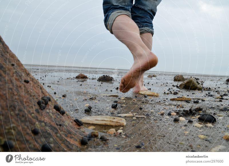 Rømø | Smells like ... Mensch Mann Ferien & Urlaub & Reisen Wasser Sommer Meer Strand Erwachsene Ferne kalt Küste Sand Fuß Horizont Freizeit & Hobby groß