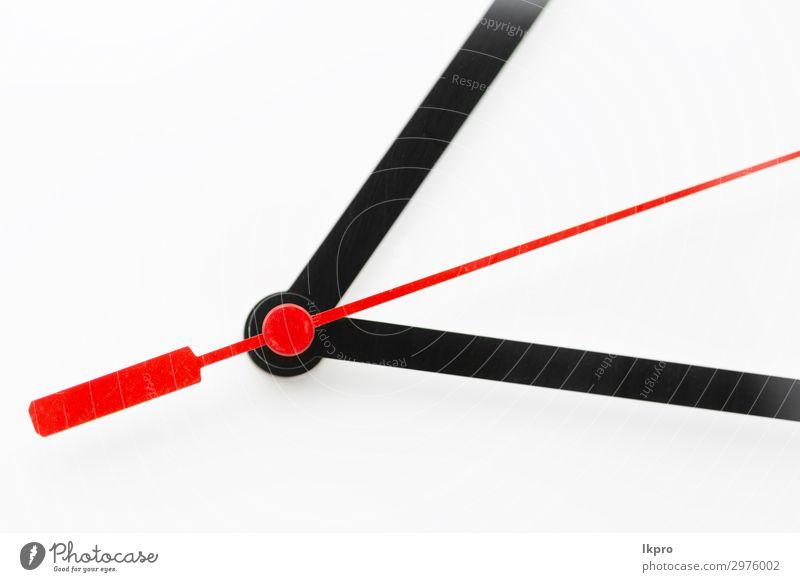 Uhr auf weißem Hintergrund Erfolg Arbeit & Erwerbstätigkeit Büro Business beobachten dreckig modern rot schwarz Idee Zukunft Zeit Entwurf Frist vereinzelt