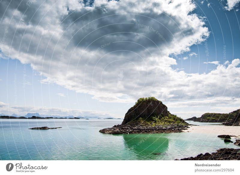 Lofoten Himmel Natur Ferien & Urlaub & Reisen Sommer Sonne Meer Einsamkeit Landschaft Strand Erholung Ferne Freiheit Küste hell träumen Klima