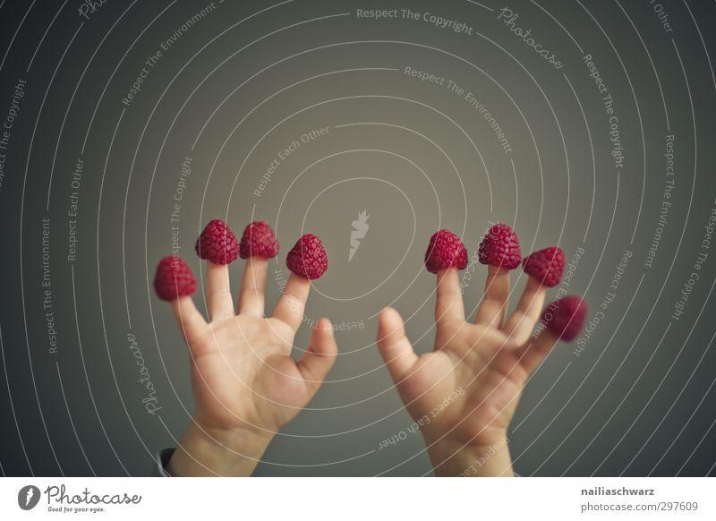 Lecker! Lebensmittel Frucht Himbeeren Ernährung Bioprodukte Vegetarische Ernährung Diät Fingerfood Mensch Hand 3-8 Jahre Kind Kindheit Duft Spielen toben frech