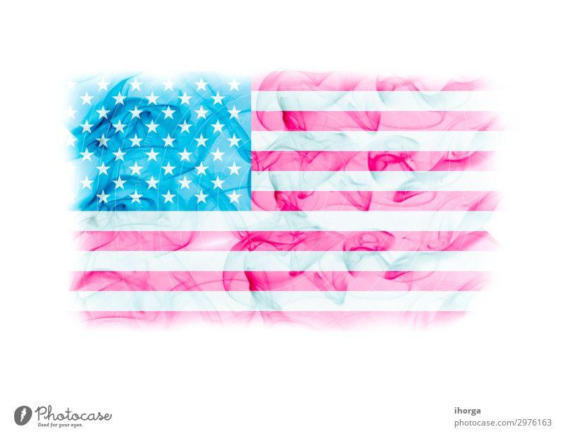 United States Flagge mit Rauchstruktur auf weißem Hintergrund Freiheit Feste & Feiern Denkmal Streifen Fahne blau rot Ehre Farbe Selbstständigkeit Juli USA