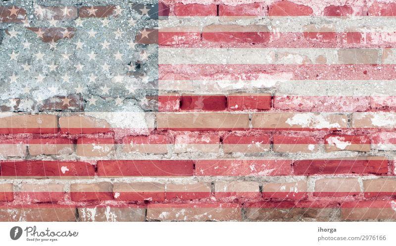 Vereinigte Staaten Flagge mit Ziegelstruktur Freiheit Feste & Feiern Denkmal Streifen Fahne blau rot Ehre Farbe Selbstständigkeit Juli USA Amerikaner blanko