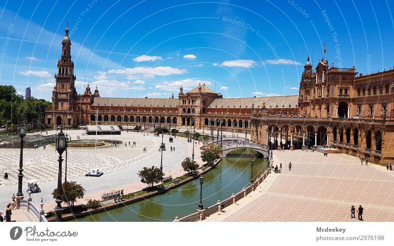 Plaza de España (Sevilla) Tier Himmel Wolken Sommer Schönes Wetter Wärme Pflanze Baum Blume Park Andalusien Spanien Europa Stadt Stadtzentrum Altstadt bevölkert