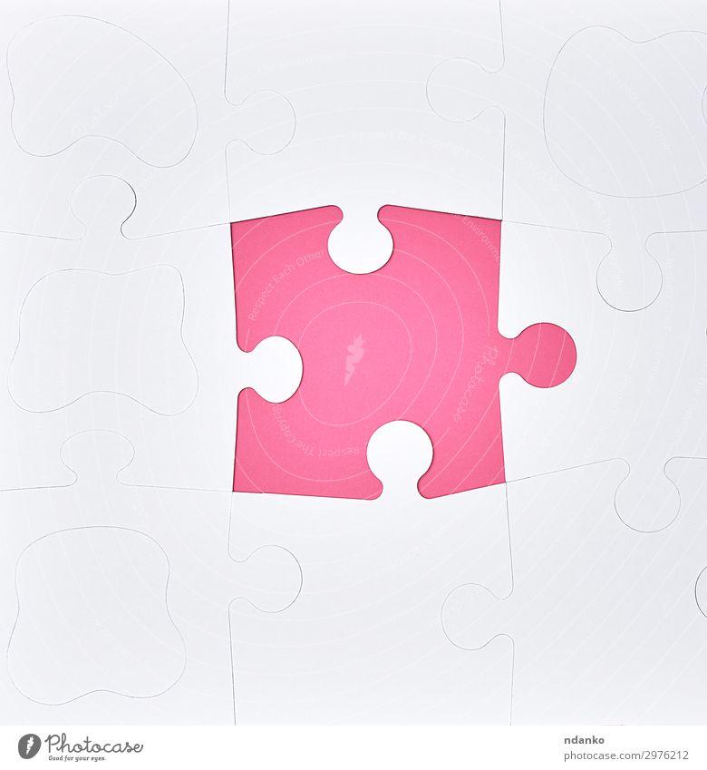 weiße große leere Rätsel auf rosa Hintergrund Design Freizeit & Hobby Spielen Erfolg Business Papier Spielzeug Farbe Idee Kreativität Problemlösung Teamwork