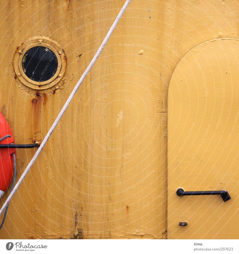Rømø | Lieferanteneingang alt schwarz gelb Fenster Wand Mauer Metall Business Fassade Tür authentisch Armut geschlossen kaputt Seil Schifffahrt