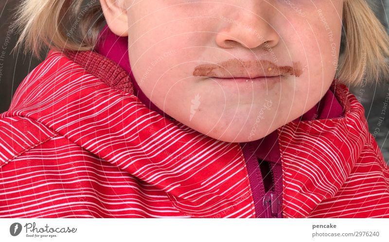 voll im trend! Lifestyle Stil schön Haare & Frisuren Gesicht Kind 3-8 Jahre Kindheit blond Bart Oberlippenbart trendy modern natürlich niedlich Kakao Zopf rosa