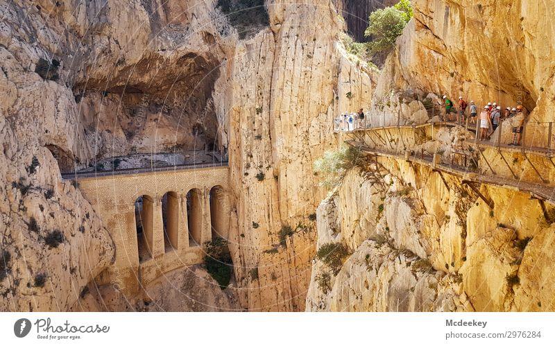 Caminito del Rey Mensch Natur Sommer Stadt Landschaft schwarz Wärme gelb Umwelt Wege & Pfade außergewöhnlich Menschengruppe orange braun grau Felsen