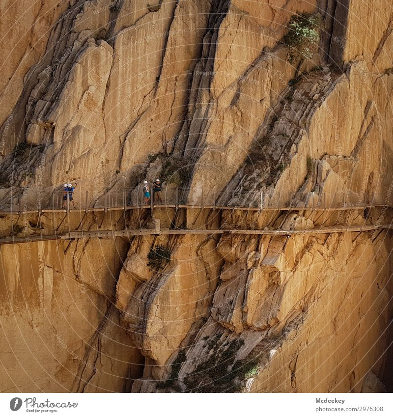 Caminito del Rey Mensch Natur Sommer Stadt Landschaft schwarz Wärme Umwelt natürlich Wege & Pfade Menschengruppe orange braun grau Felsen Treppe