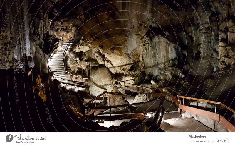 Cueva de Nerja Umwelt Natur Landschaft Sommer Schönes Wetter Felsen Höhle Hohlraum Andalusien Spanien Europa Treppe Sehenswürdigkeit außergewöhnlich frisch groß