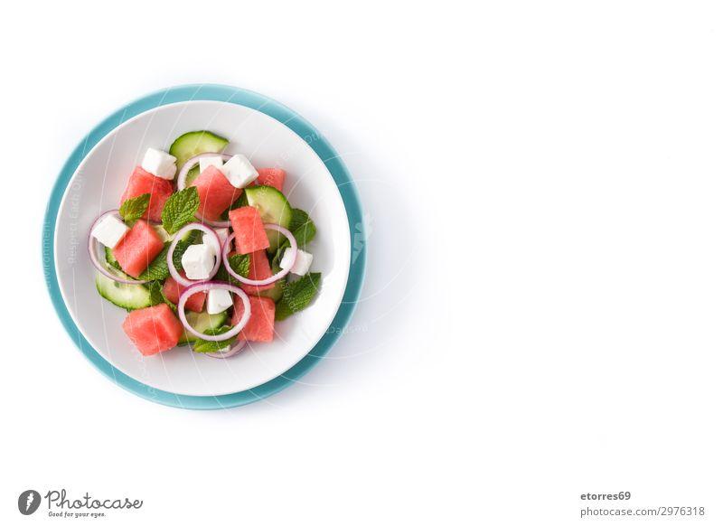 Wassermelonensalat mit Fetakäse Gemüse Frucht Vegetarische Ernährung Asiatische Küche Teller exotisch Sommer Herbst Blatt Stein frisch blau grau grün rot weiß