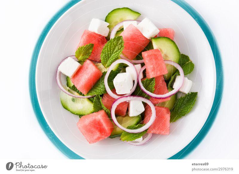 Wassermelonensalat mit Fetakäse Lebensmittel Käse Gemüse Frucht Ernährung Mittagessen Abendessen Vegetarische Ernährung Asiatische Küche Teller exotisch Sommer