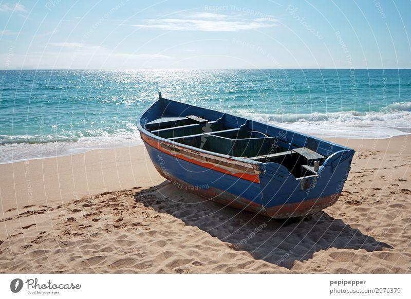 boot Himmel Ferien & Urlaub & Reisen Sommer blau Wasser Sonne Meer Ferne Strand Holz Küste Tourismus Freiheit Sand Wellen Insel