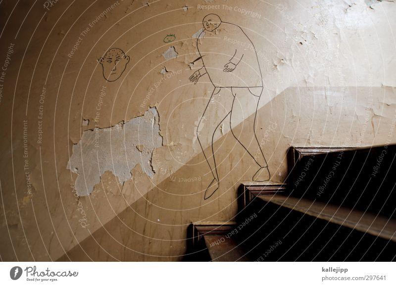 der obermieter Mensch 2 Treppe Zeichen Graffiti rennen Flur Stadthaus Altbau Putz Zeichnung illustrieren Farbfoto Gedeckte Farben Außenaufnahme Tag Licht
