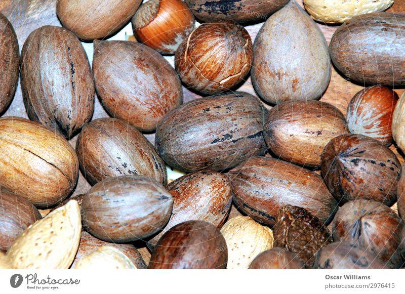 Gemischte Nüsse in Schalen. gemischt Nuss Pekannüsse Mandel Cashewnüsse Haselnuss Panzer roh lecker Gesunde Ernährung Energie organisch knackig Snack