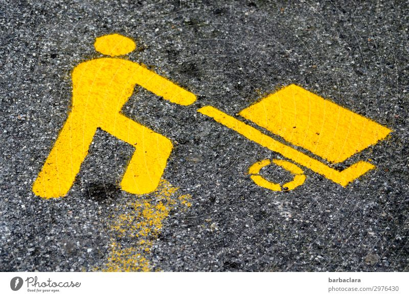 on the road again   hard working man Mensch Farbe Straße gelb Bewegung Arbeit & Erwerbstätigkeit maskulin leuchten Schilder & Markierungen Zeichen Sicherheit