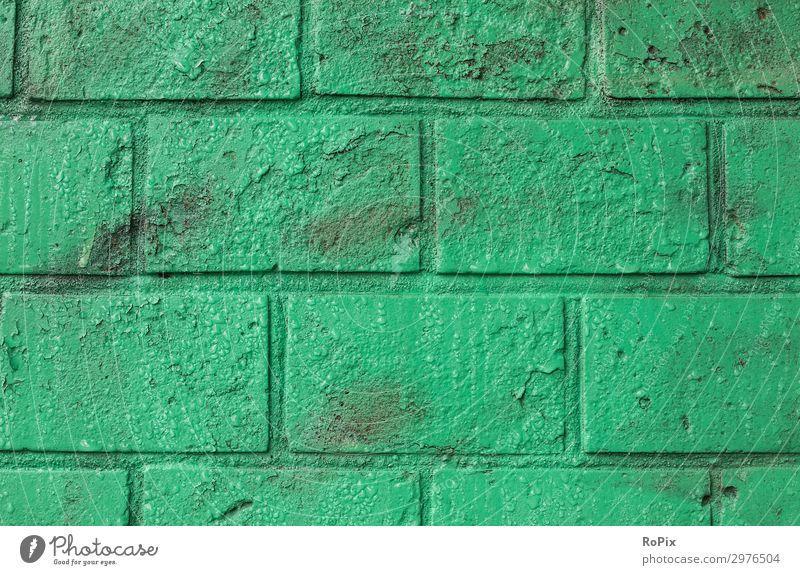 Grün lackierte Backsteinwand. Mauer Ziegel Wand wall brick lasiert Architektur Haus Hauswand Stadt urban städtisch Kunst Lasur Mauerwerk Stone art Ornamente Ton