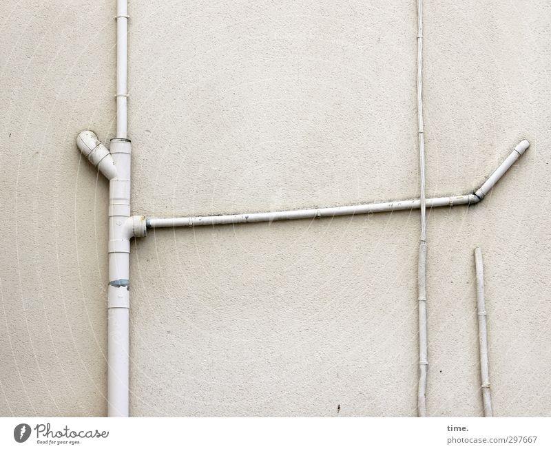 Da hab ich mir soviel Mühe gegeben ... Mauer Wand Fassade Fallrohr Abflussrohr Kabel Leitung Stein Kunststoff nachhaltig Originalität rebellisch Stadt weiß