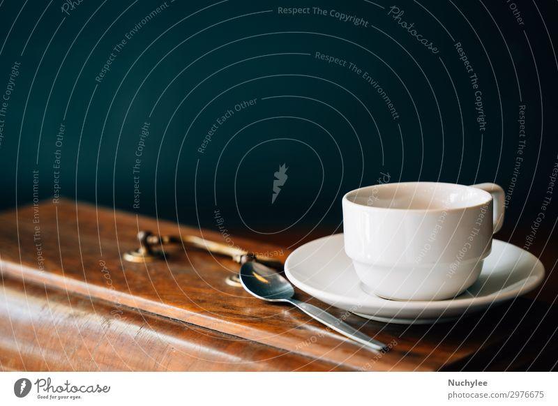 Stillleben-Tasse Kaffee oder Tee Frühstück Getränk Teller Löffel Lifestyle Dekoration & Verzierung Tisch Holz Ornament alt dunkel heiß retro grün Hintergrund