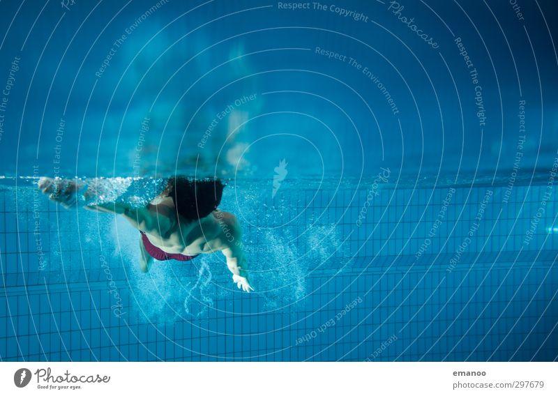 Rücken Mensch Mann blau Wasser Erwachsene kalt Leben Sport Bewegung Schwimmen & Baden Gesundheit Luft Körper Geschwindigkeit Fitness Schwimmbad