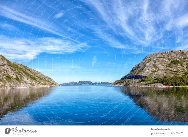 Fjordlandschaft Ferien & Urlaub & Reisen Tourismus Ferne Kreuzfahrt Sommer Meer Natur Landschaft Urelemente Wasser Himmel Wolken Schönes Wetter Felsen