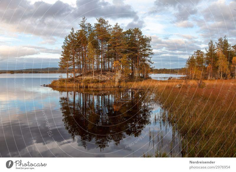 Seelandschaft in Schweden Ferien & Urlaub & Reisen Tourismus Abenteuer Freiheit Camping Natur Landschaft Urelemente Wasser Himmel Wolken Sonne Sommer Herbst