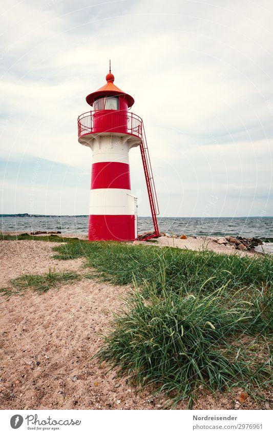 Kleiner Leuchtturm Ferien & Urlaub & Reisen Tourismus Ferne Strand Meer Natur Landschaft Urelemente Sand Wasser Himmel Wolken Schönes Wetter Gras Küste Nordsee