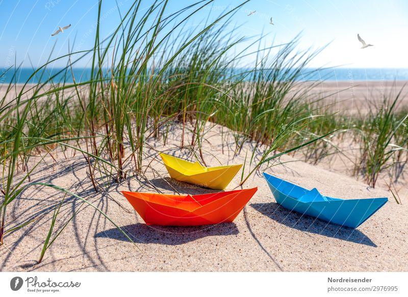 Am Strand der Ostsee Spielen Basteln Ferien & Urlaub & Reisen Tourismus Sommer Sommerurlaub Meer Sand Wasser Wolkenloser Himmel Sonne Schönes Wetter Gras