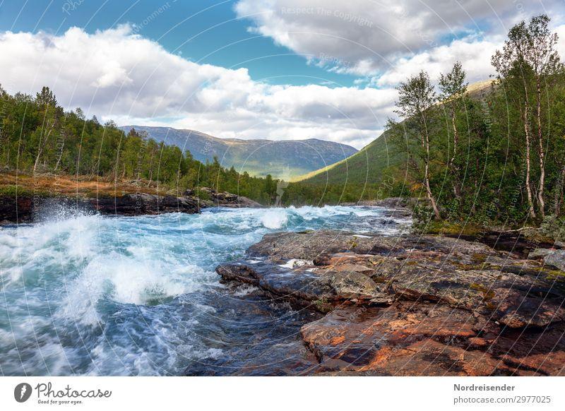 Kaltes klares Wasser Ferien & Urlaub & Reisen Abenteuer Freiheit Camping Sommer Natur Landschaft Urelemente Wolken Schönes Wetter Baum Wald Felsen
