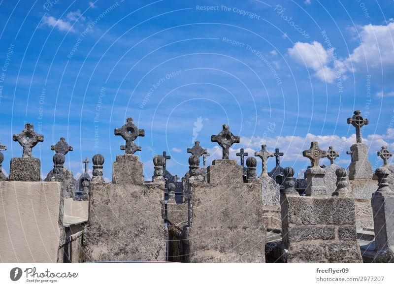 Spanischer Friedhof Halloween Himmel Nebel Baum Stein alt dunkel gruselig schwarz Tod Angst Entsetzen Religion & Glaube Hintergrund Grab gotisch Grabstein