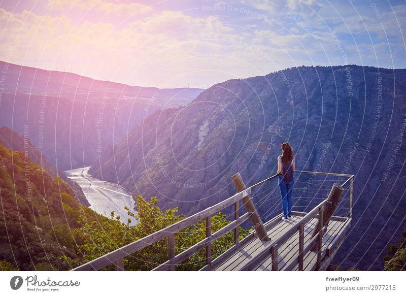 Frau Mensch Himmel Ferien & Urlaub & Reisen Natur Jugendliche Junge Frau Sommer blau schön grün Landschaft Baum Ferne Berge u. Gebirge 18-30 Jahre
