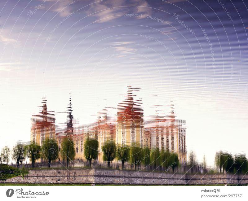 Schlösserland I Himmel (Jenseits) Wasser Kunst See ästhetisch Kultur Turm Spaziergang Kitsch Dresden Schloss Wasseroberfläche Sachsen Märchen Illusion Klassik