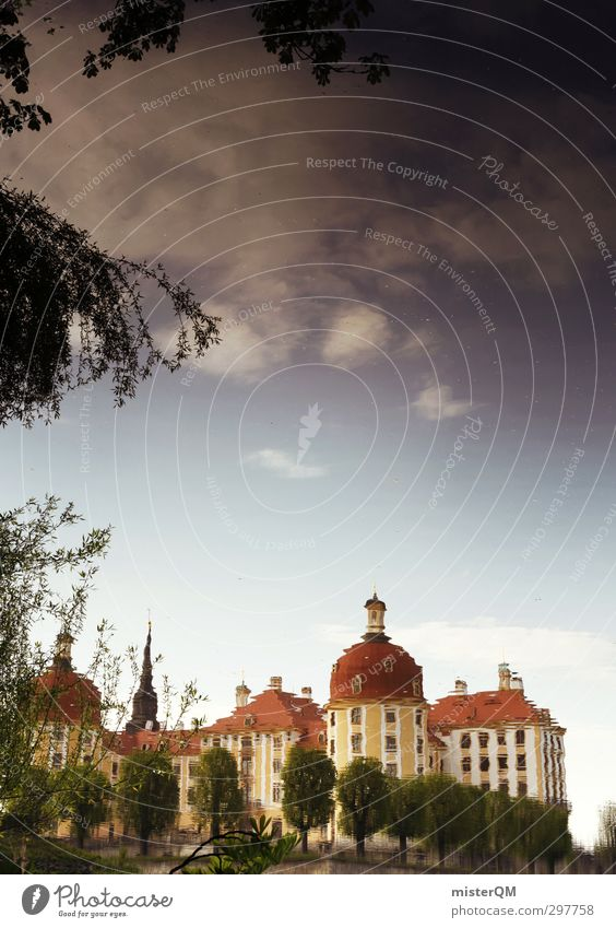 Schlösserland II Kunst ästhetisch Surrealismus Reflexion & Spiegelung Illusion Spiegelbild Moritzburg Jagdschloss Moritzburg Sachsen Schloss Schlossgarten