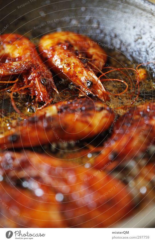 Mr. Gambas. Kunst ästhetisch Foodfotografie Meeresfrüchte Garnelen kochen & garen Pfanne Abendessen Fett lecker mediterran Ernährung rot klein Vorspeise