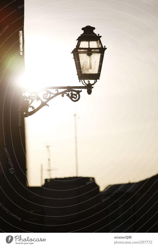 Lisa Leuchte. Ferien & Urlaub & Reisen Stadt Sonne dunkel Kunst gehen leuchten Idylle ästhetisch Romantik Laterne Straßenbeleuchtung Gasse verträumt mediterran