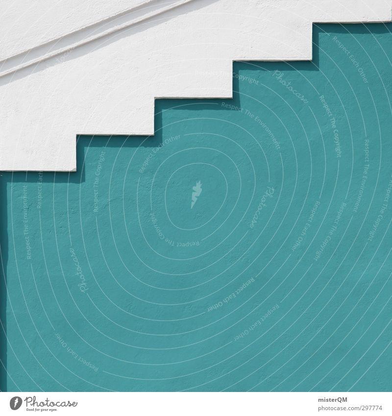 upstep I Kunst ästhetisch Treppe Symmetrie Architektur mediterran blau türkis weiß dezent Farbfoto Gedeckte Farben Außenaufnahme Detailaufnahme Experiment