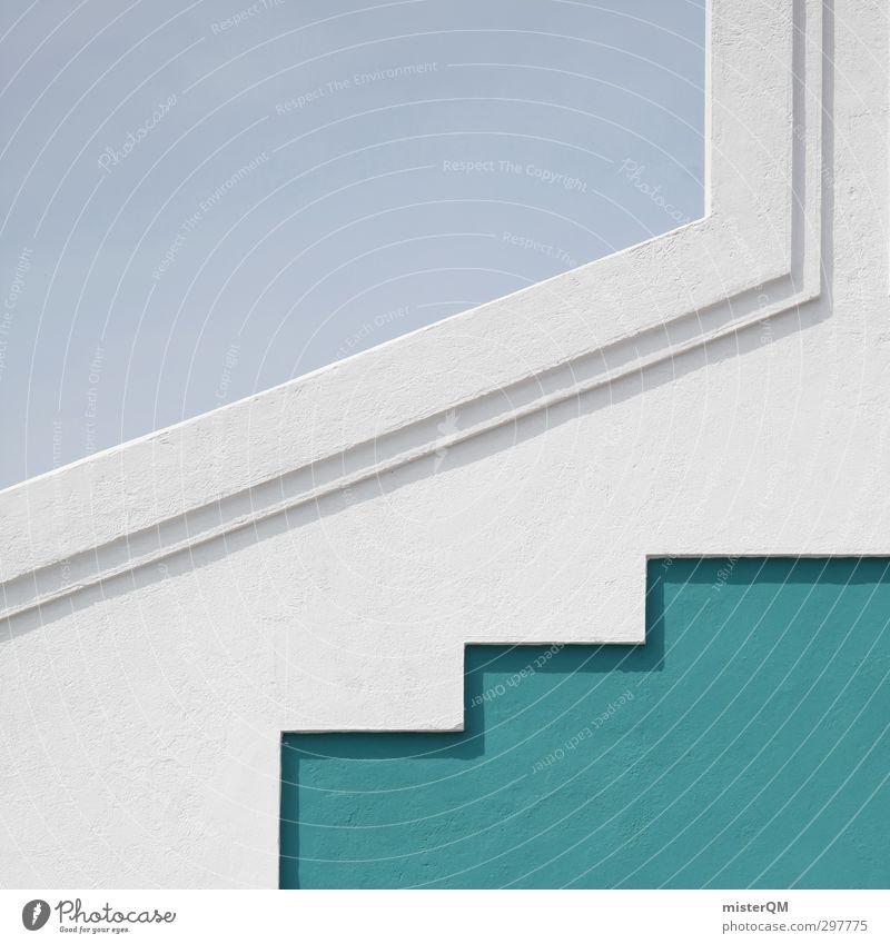 upstep II. Kunst ästhetisch Symmetrie Architektur Dach modern blau weiß Muster dezent Farbfoto Gedeckte Farben Außenaufnahme Nahaufnahme Detailaufnahme