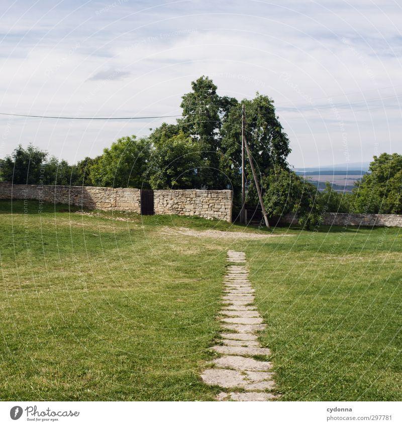 Landidyll Himmel Natur Stadt Sommer Baum Einsamkeit Landschaft ruhig Erholung Umwelt Ferne Wiese Wand Leben Wege & Pfade Freiheit