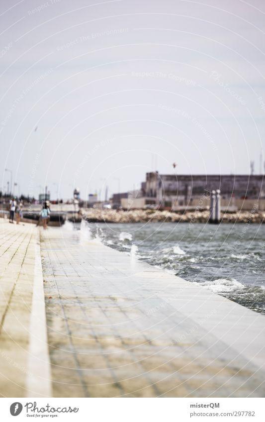 Salzpromenade. Meer ruhig Küste Kunst Idylle ästhetisch Sommerurlaub verträumt abgelegen Portugal Promenade Lissabon Meerwasser