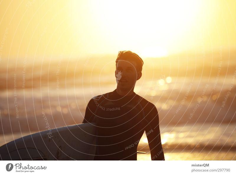 believe. Kunst ästhetisch Zufriedenheit Mann Surfer Surfen Meer Glaube Sonnenuntergang Wellen Surfbrett Portugal Freude Extremsport sportlich Freizeit & Hobby