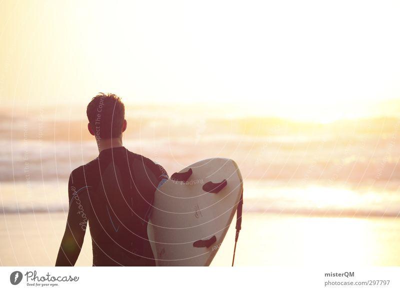 Meerblick I Kunst ästhetisch Zufriedenheit Surfen Surfer Surfbrett Surfschule Sonnenuntergang Romantik Extremsport Wassersport hell Hoffnung Jugendliche