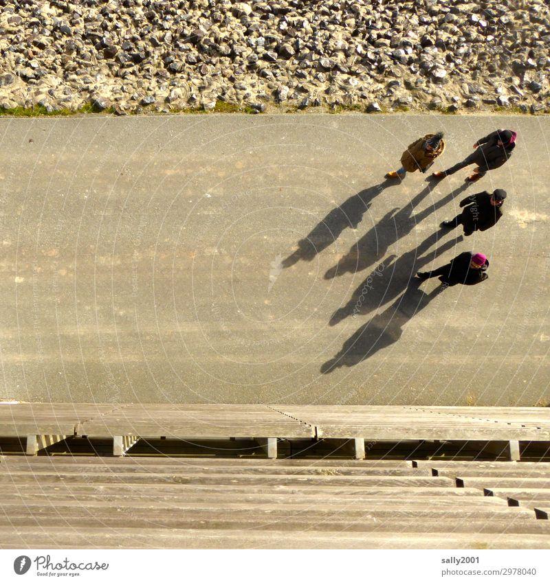 Wandergruppe... Gruppe Menschen 4 wandern Spaziergang Wege & Pfade Schatten Winter Gehweg Asphalt gemeinsam gehen spazieren spazierengehen Vogelperspektive