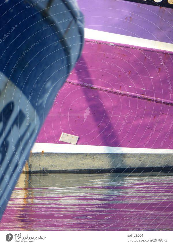 Hafenfarben... Schifffahrt Fischerboot liegen Schwimmen & Baden warten außergewöhnlich maritim mehrfarbig violett rosa Pause ruhig Farbe Farbfoto Außenaufnahme