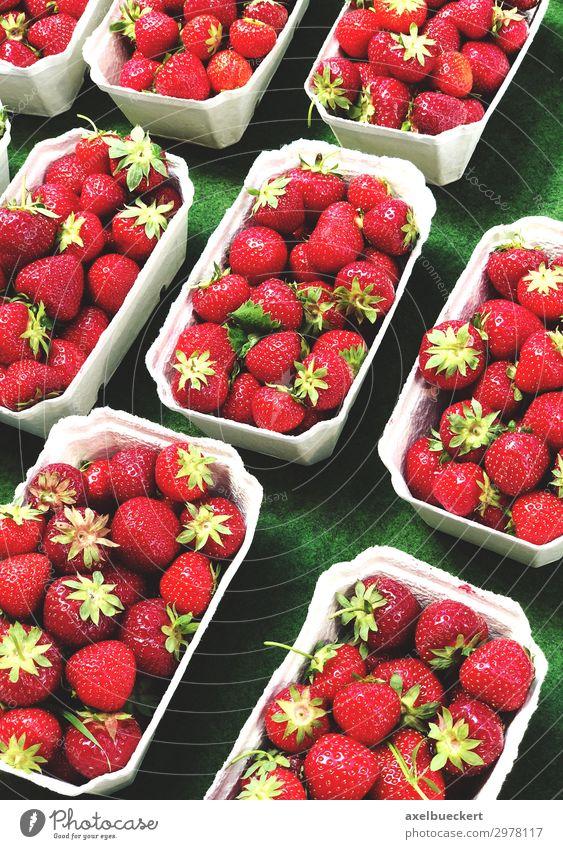 frische Erdbeeren auf dem Markt Lebensmittel Frucht Ernährung Vegetarische Ernährung kaufen Gesunde Ernährung lecker rot Vitamin C Supermarkt Ladengeschäft