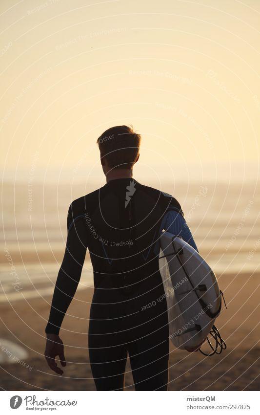 slow motion. Mann Freude Strand Sport Küste Stil Kunst Freizeit & Hobby elegant Zufriedenheit laufen Lifestyle ästhetisch Romantik sportlich Surfen