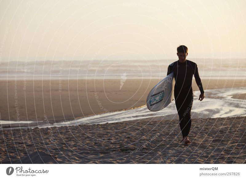 going home. Mann Meer Freude Strand Erotik Stil Kunst maskulin Freizeit & Hobby elegant Zufriedenheit Lifestyle ästhetisch Laufsport Romantik Surfen