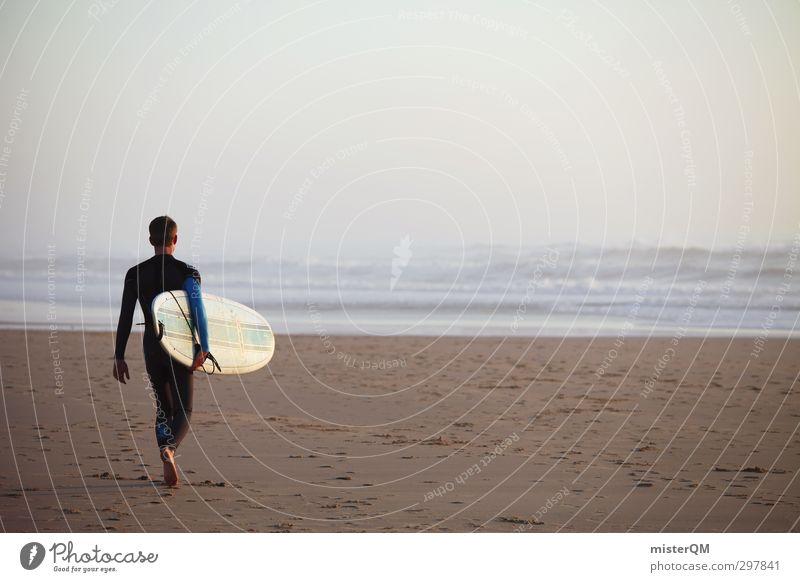 surfday. Mann Wasser Meer Ferne Freiheit Stil Horizont Kunst maskulin Wellen Zufriedenheit Lifestyle ästhetisch Surfen Wassersport Vorfreude