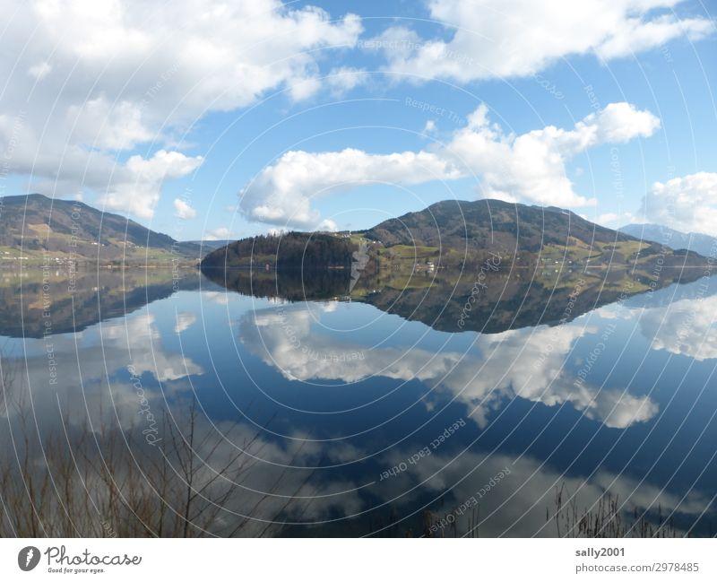Symmetrie in der Natur... Spiegelung Reflexion & Spiegelung See Berge Wolken Alpen Österreich Salzkammergut Mondsee Landschaft Ruhe Wasser Berge u. Gebirge blau
